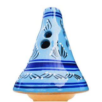 handbeschilderd, licht blauw, tajine, sierpotje, ceramicas, decojar,